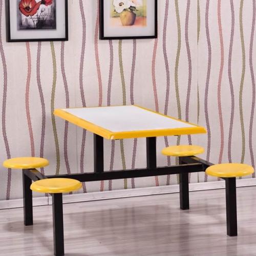 圆凳面拼色中间连体餐桌
